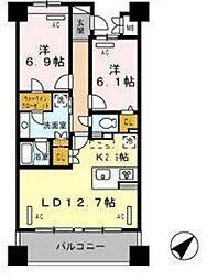 東京メトロ有楽町線 豊洲駅 徒歩5分の賃貸マンション 4階2LDKの間取り