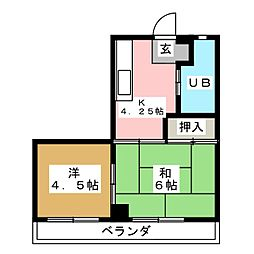 レインボーコーポ[4階]の間取り