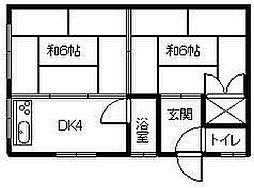 愛媛県松山市立花4丁目の賃貸アパートの間取り
