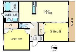兵庫県神戸市垂水区東垂水2丁目の賃貸アパートの間取り