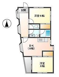 原マンション 4b[3階]の間取り