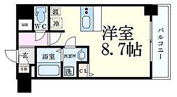 ファーストフィオーレ三宮イーストII 1階ワンルームの間取り