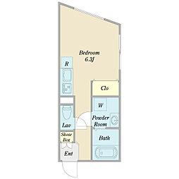 リーガランド不動前B棟 3階ワンルームの間取り