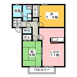 ガーデン青山II B棟[1階]の間取り