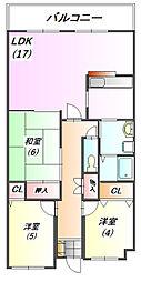兵庫県三田市横山町の賃貸マンションの間取り