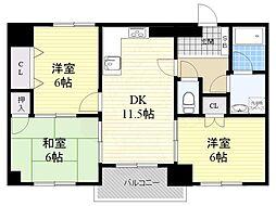 グラントピア新大阪 9階3LDKの間取り