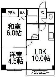 ソシアルコートK3・4[2階]の間取り