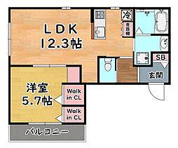 阪急神戸本線 王子公園駅 徒歩1分の賃貸マンション 2階1LDKの間取り