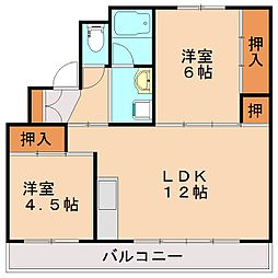 ビレッジハウス頴田2号棟[2階]の間取り