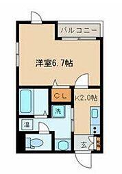 東京メトロ有楽町線 新富町駅 徒歩6分の賃貸マンション 5階1Kの間取り