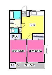 東京都東大和市奈良橋3丁目の賃貸マンションの間取り