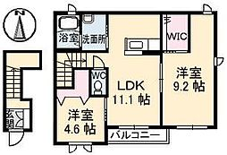 愛媛県松山市南吉田町の賃貸アパートの間取り