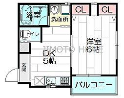 イーストサイド江坂[1階]の間取り