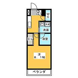 サムティ熱田RESIDENCE 2階1Kの間取り