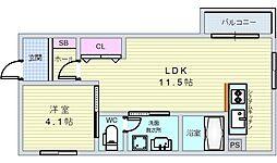 フィユフラッツ中桜塚 3階1LDKの間取り