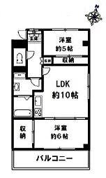 ベルクール夙川 1階2LDKの間取り