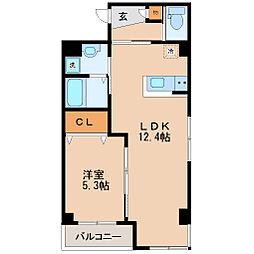 仙台市営南北線 仙台駅 徒歩14分の賃貸マンション 2階1LDKの間取り