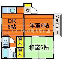 岡山県岡山市中区浜3丁目の賃貸マンションの間取り