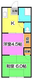 飯倉荘[2階]の間取り