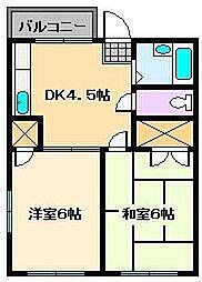日将ベルデ[4階]の間取り