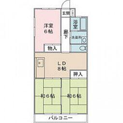 木村ビル 2階3DKの間取り