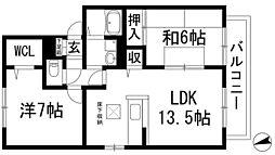 兵庫県川西市滝山町の賃貸アパートの間取り