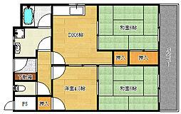 大阪府茨木市真砂1の賃貸マンションの間取り