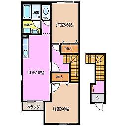 三重県四日市市朝明町の賃貸アパートの間取り