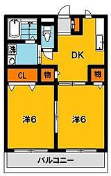 栃木県宇都宮市若松原3丁目の賃貸アパートの間取り