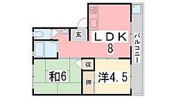 TウエストマンションB棟[202号室]の間取り
