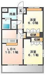 コートヴェール中島田[108号室]の間取り