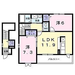 長野県千曲市大字千本柳の賃貸アパートの間取り