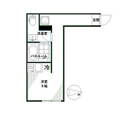 JR中央本線 高円寺駅 徒歩6分の賃貸マンション 2階ワンルームの間取り