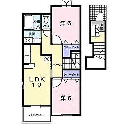 鹿児島県南さつま市加世田武田の賃貸アパートの間取り