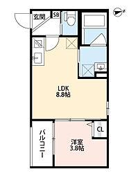 DOLCE VITA 池田(ドルチェ ヴィータ イケダ) 1階1LDKの間取り