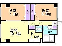レジデンスKouei 3階2LDKの間取り