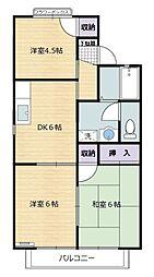 プレミールハイツ五番館 2階3DKの間取り