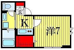 仮)D-room菅野 1階1Kの間取り