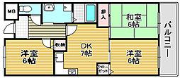 大阪府高石市東羽衣3丁目の賃貸マンションの間取り