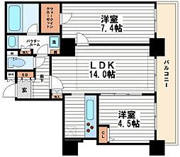 カスタリアタワー長堀橋[21階]の間取り