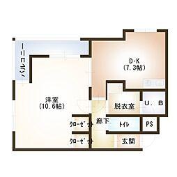 新潟県新潟市中央区花町の賃貸マンションの間取り