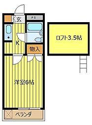 埼玉県朝霞市三原3丁目の賃貸アパートの間取り