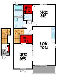 福岡県宗像市ひかりヶ丘2丁目の賃貸アパートの間取り
