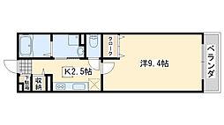 南海線 樽井駅 徒歩2分の賃貸アパート 1階1Kの間取り