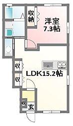 兵庫県姫路市御立中3丁目の賃貸アパートの間取り
