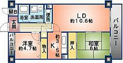 大阪府八尾市青山町3丁目の賃貸マンションの間取り