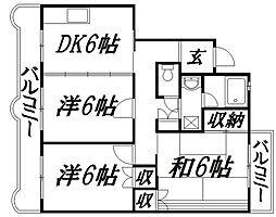 静岡県浜松市中区中島3丁目の賃貸マンションの間取り