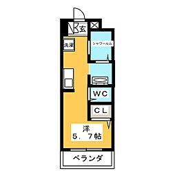AALii 1階ワンルームの間取り