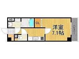 ランドアート甲子園 6階1Kの間取り