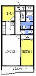 スカイアーバン戸田公園[1306号室号室]の間取り